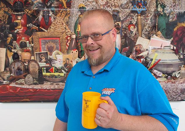 Musikfest Volunteer and Mug collector John Muscler with his favorite Musikfest mug.